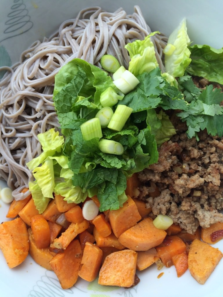 Great salad with sweet potato, carrot and buckwheat noodles