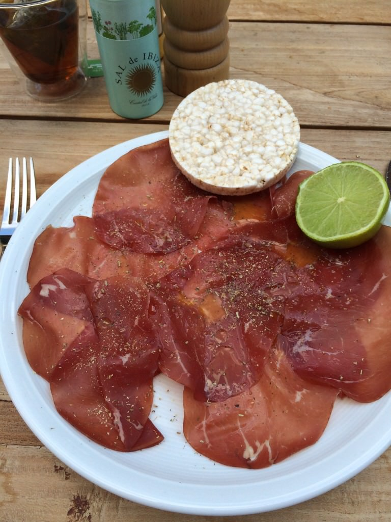Bresaola with lime and seasalt from Ibiza...instant holiday