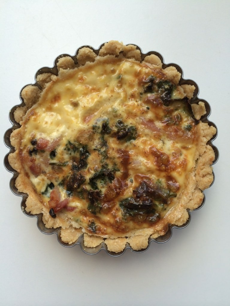 Mushroom and spinach filling, almond and chickpea crust