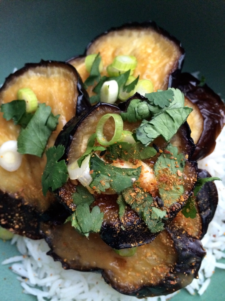 Miso infused eggplants
