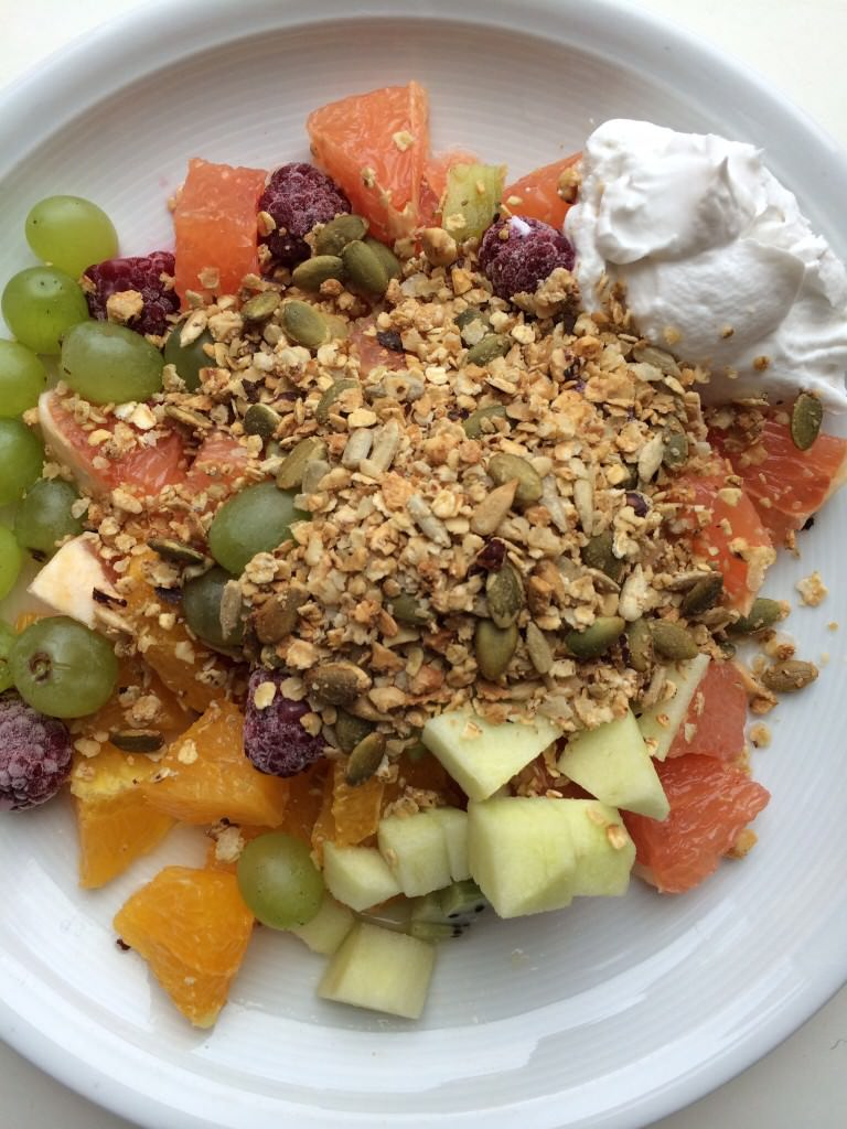 What a winner: granola+ coconut cream + fruits