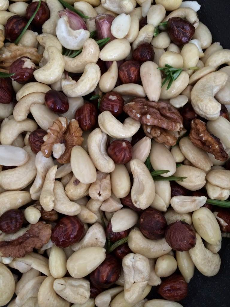 Mixed nuts ready for roasting