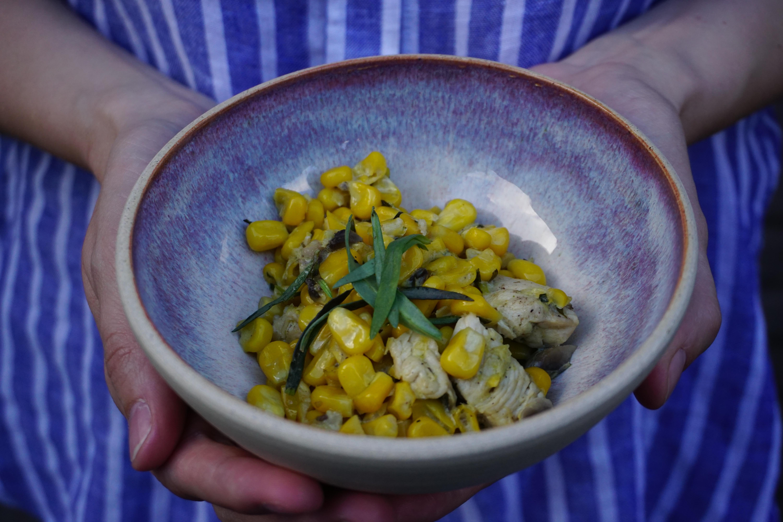 Stoofpotje van maïs met kip en dragon