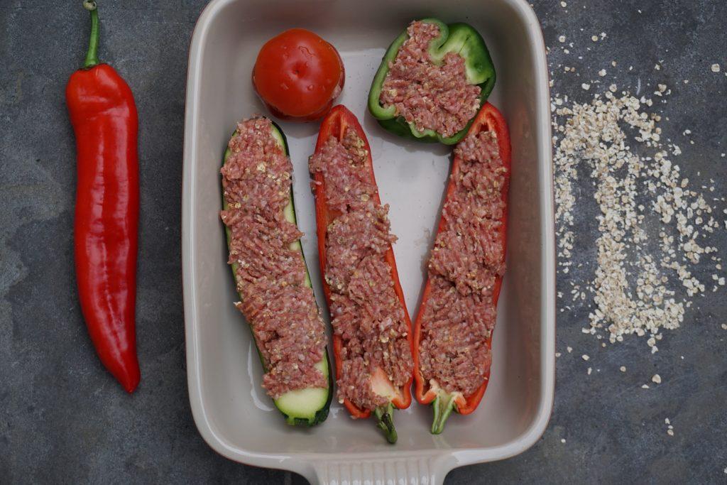 Gevulde groenten met geroosterde tomatensaus