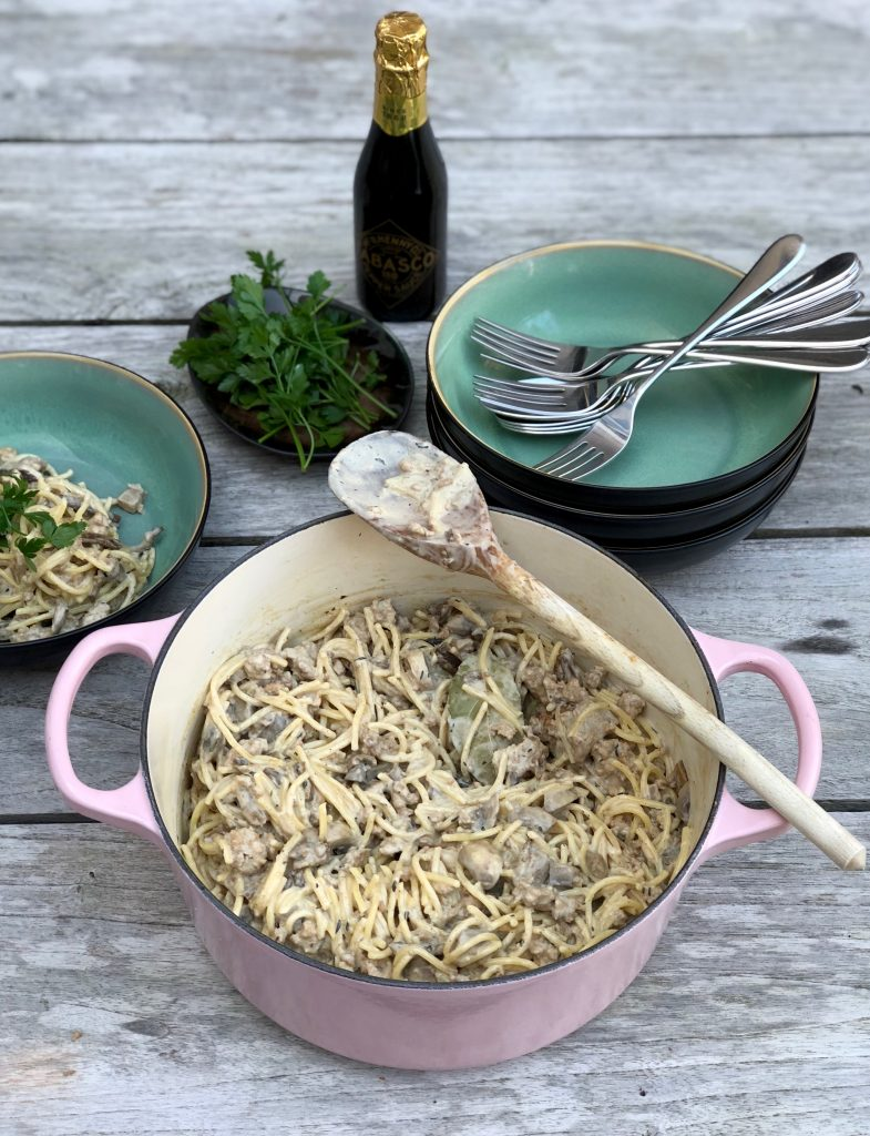 Herfstpasta met kip en paddenstoelen