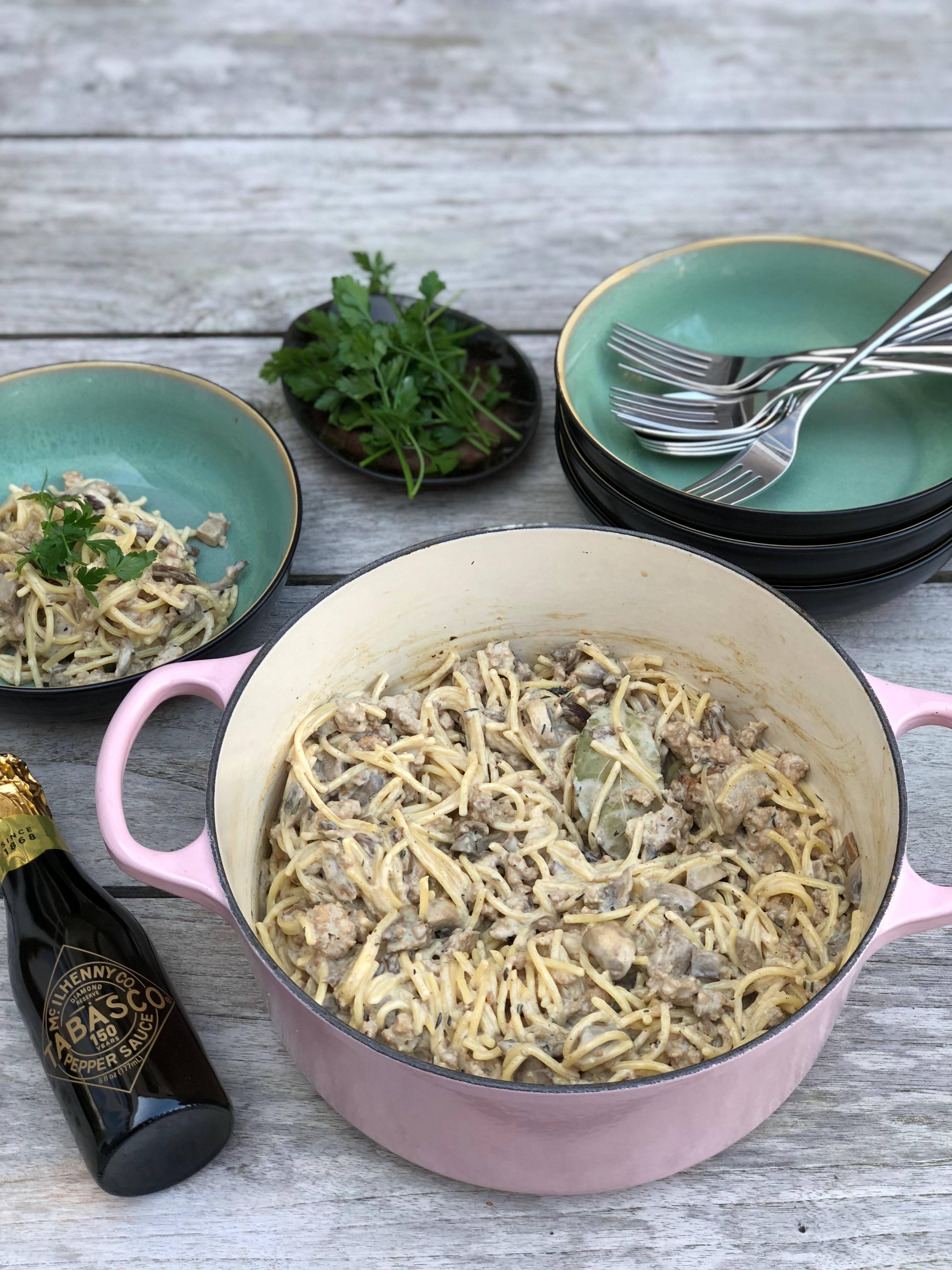 glutenvrije pasta met paddenstoelen