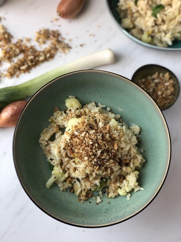 Risotto van bloemkool met een kruidige crunch