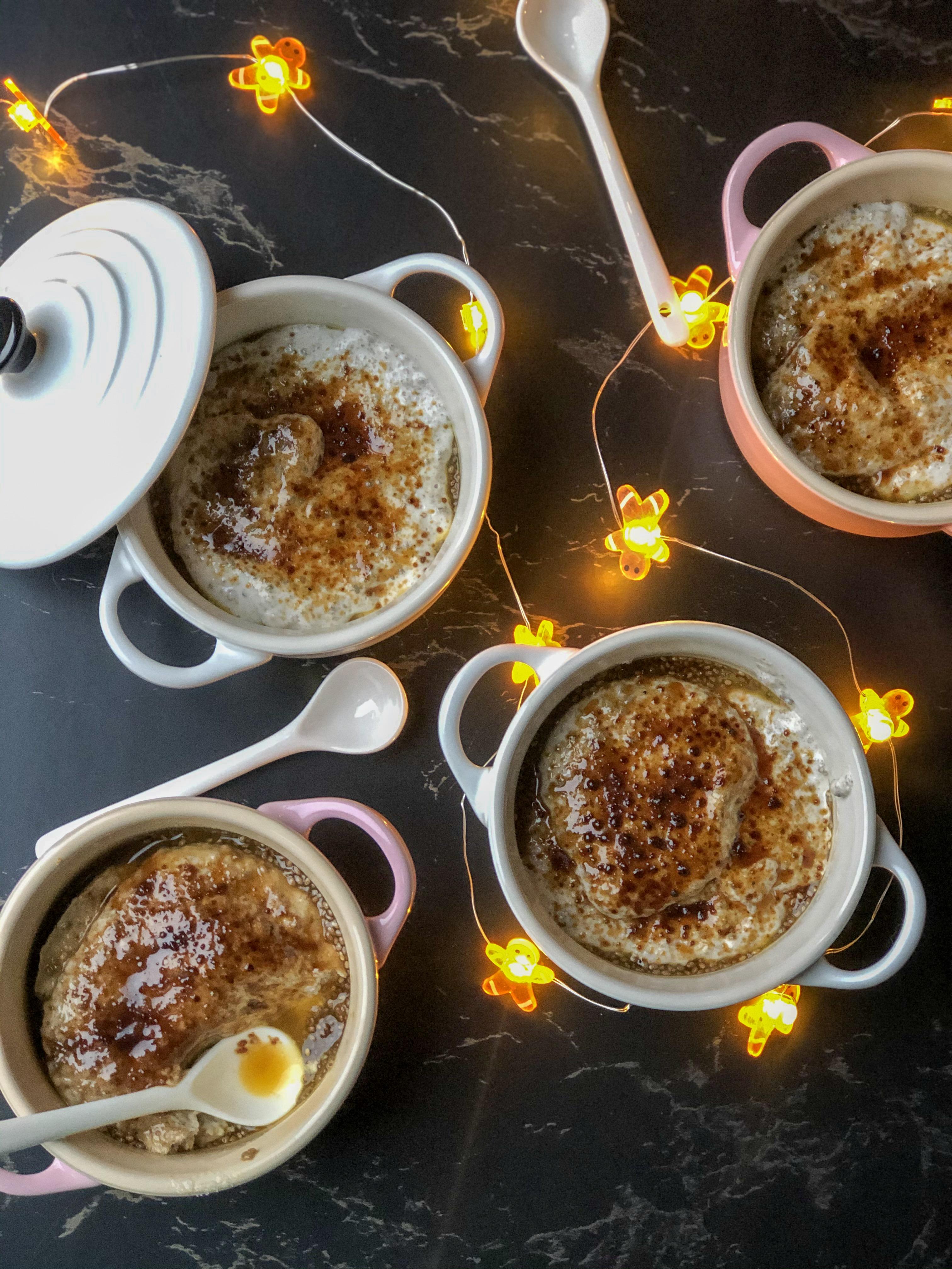 kokos chia crème brulée