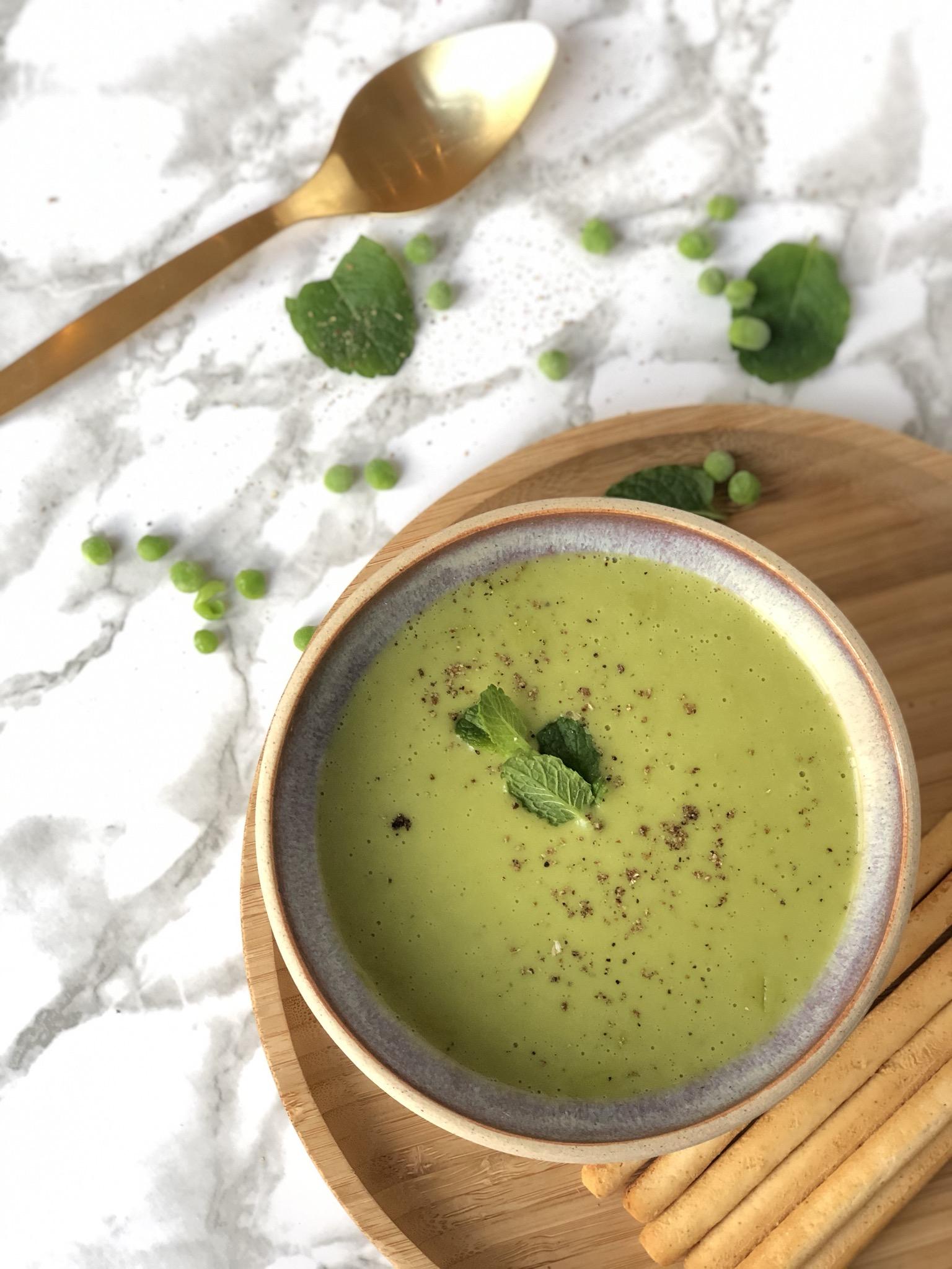 broccoli erwtjes soep met gember en kokosroom