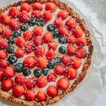 glutenvrije taart met witte chocolademousse en rood fruit