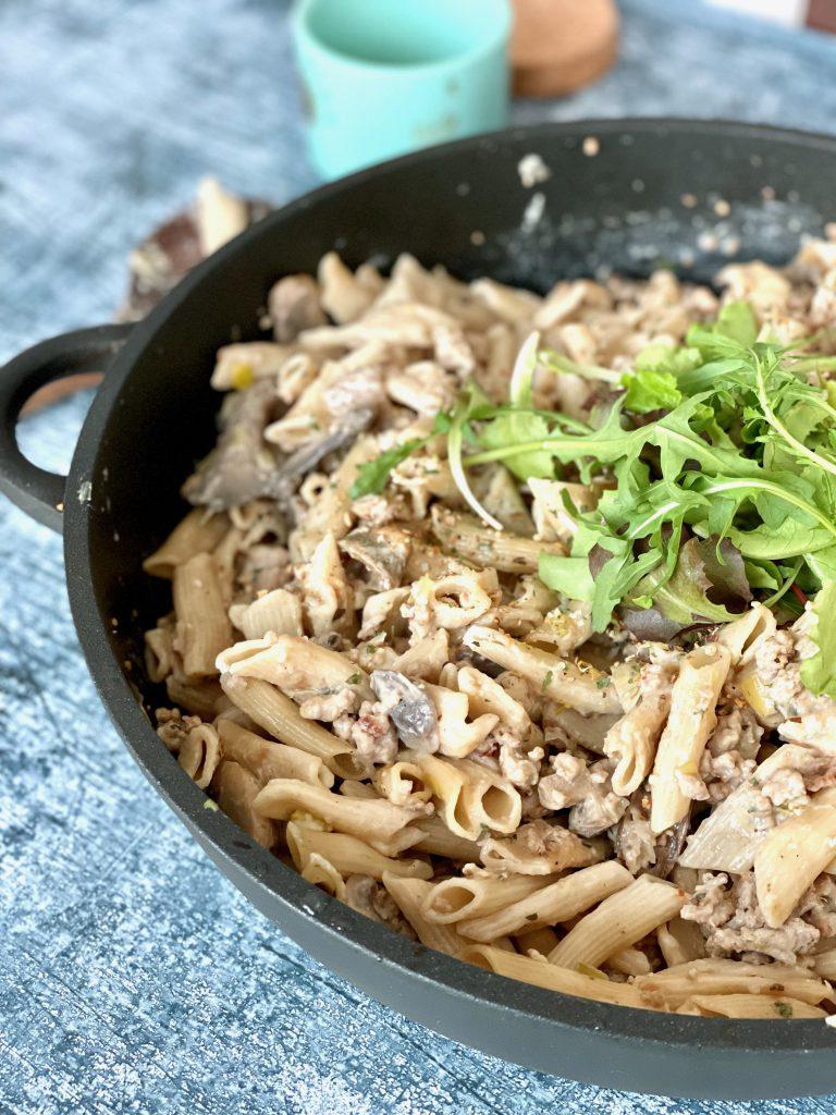 one pot pasta met champignons en prei